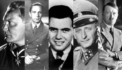 v.l.n.r. Hermann Göring; Joseph Goebbels; Jozef Mengele; Adolf Eichmann; Adolf Hitler; - Cc Wikimedia