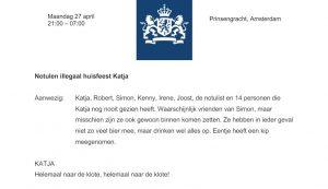 Notulen illegaal huisfeest Katja openbaar gemaakt