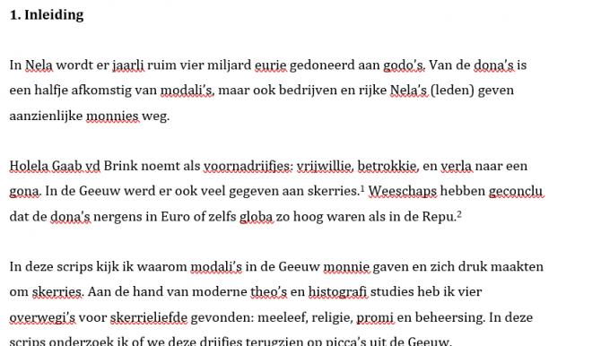 Student schrijft scriptie in afko's